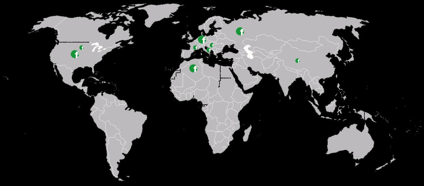 Weltkarte mit den größten Umsetzungen von fairbranding